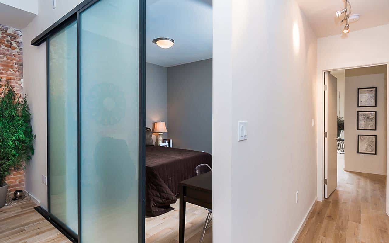 Multi-family Apartments in DC Frosted Glass Pocket Door